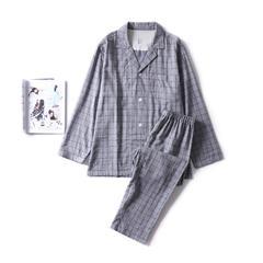 2018新款-色纺灰格家居服(女款) M码适合体重(100斤内) 色纺灰格