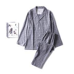 2018新款-色纺灰格家居服(男款) M码适合体重(130斤内) 色纺灰格