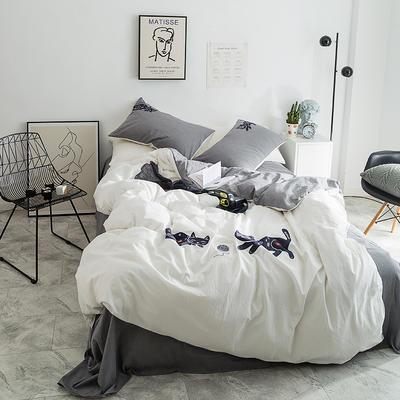 2019新款-棉刺子绣花猫四件套 1.5m(5英尺)床 嬉戏白