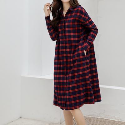 2019新款-衬衣连衣裙 M-L150斤以内 法兰绒长款红格纹