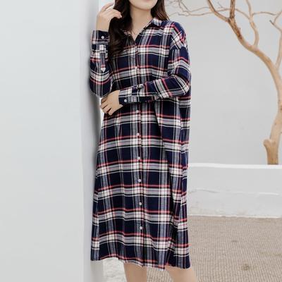 2019新款-衬衣连衣裙 M-L150斤以内 法兰绒长款蓝格纹
