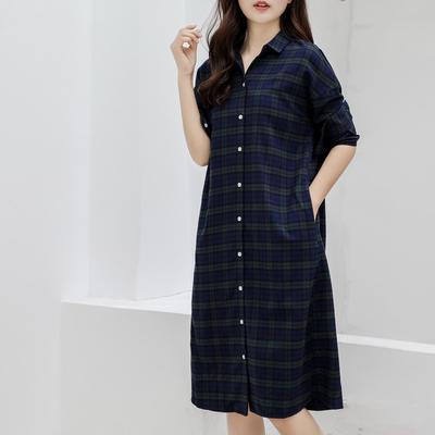 2019新款-衬衣连衣裙 M-L150斤以内 法兰绒长款绿色格纹