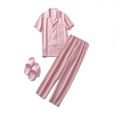 2019新款-长袖单层纱短袖长裤款家居服(女款) XL码 单层粉色女款短袖长裤
