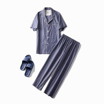 2019新款-长袖单层纱短袖长裤款家居服(男款) XL码 单层蓝灰男款短袖长裤