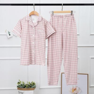 2019新款-双层纱格纹短袖(女款) XL码 玉色