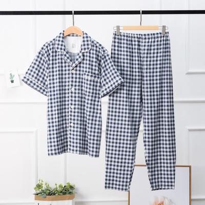 2019新款-双层纱格纹短袖(男款) XL码 蓝格