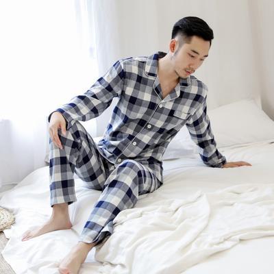 2019新款秋冬棉法兰绒家居服(男女款) XL码 青灰方格