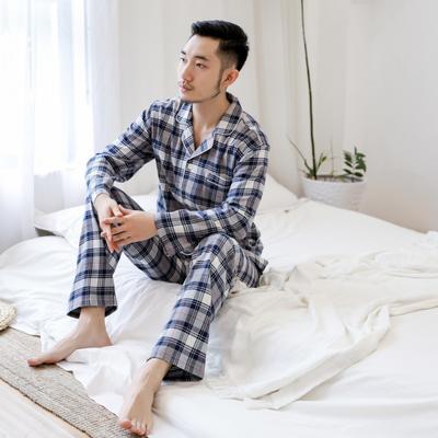 2019新款秋冬棉法兰绒家居服(男女款) XL码 青灰线格