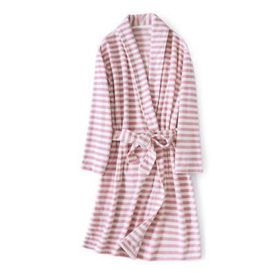 2020新款-8856条纹摇粒绒浴袍 均码 玫紫条纹女