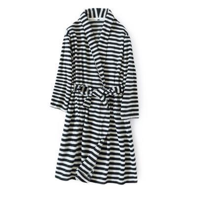 2020新款-8856条纹摇粒绒浴袍 均码 黑白条纹男