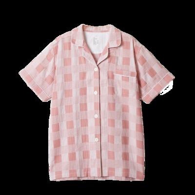 2020新款-星空格短袖短裤 均码 大人粉色