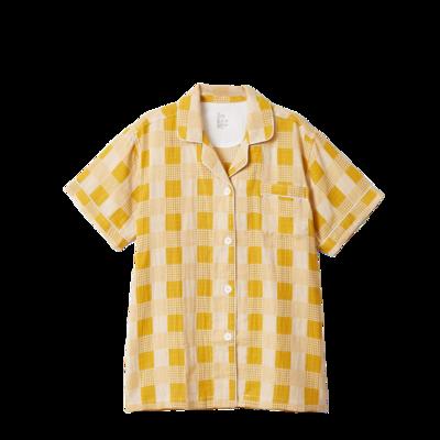 2020新款-星空格短袖短裤 均码 大人黄色