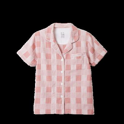 2020新款-星空格短袖短裤 均码 儿童粉色