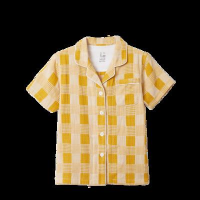 2020新款-星空格短袖短裤 均码 儿童黄色
