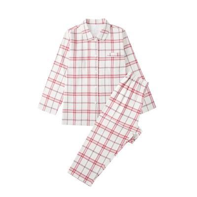 2021新款-无印良品法兰绒家居服 M码 18#紫红线格 女款