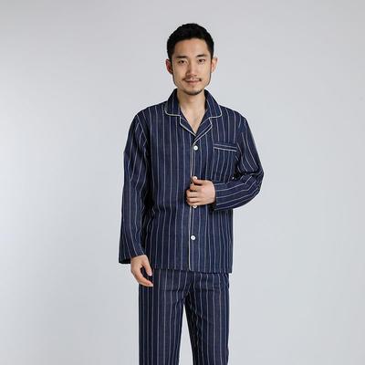 2021新款-双层纱条纹系列家居服 L码 藏青条