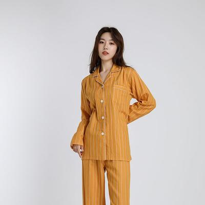2021新款-双层纱条纹系列家居服 L码 黄条