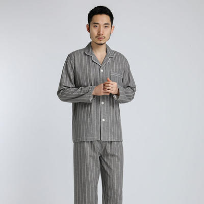 2021新款-双层纱条纹系列家居服 L码 灰条