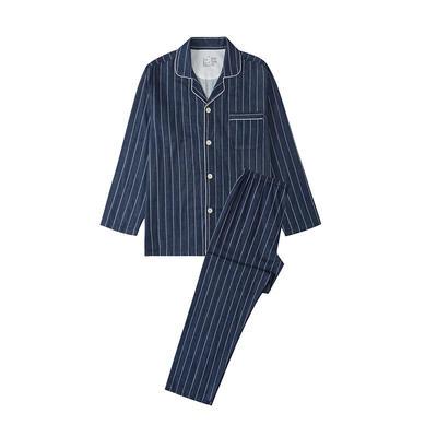 2021新款-双层纱条纹系列家居服 L码 条纹-藏青
