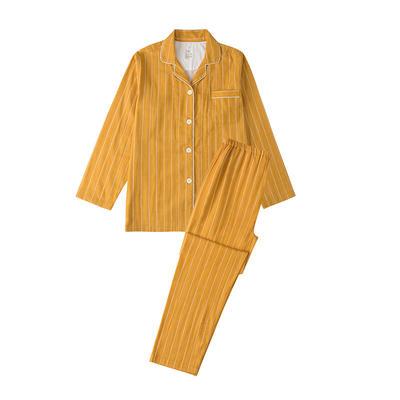 2021新款-双层纱条纹系列家居服 L码 条纹-秋黄
