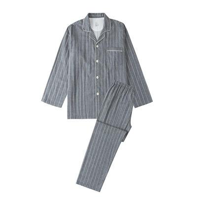 2021新款-双层纱条纹系列家居服 M码 条纹-烟灰