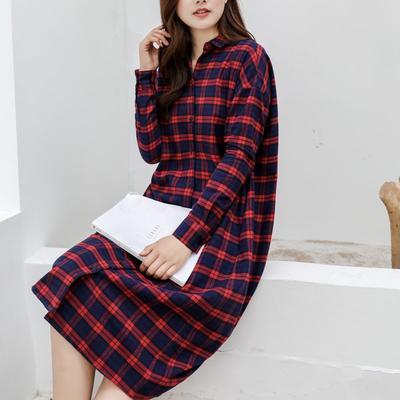 2021新款-法兰绒长款连衣裙 XS码 法兰绒长款红格纹