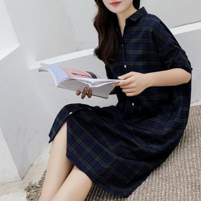2021新款-法兰绒长款连衣裙 XS码 法兰绒长款绿色格纹