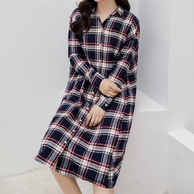2021新款-法兰绒长款连衣裙 XS码 法兰绒长款蓝格纹