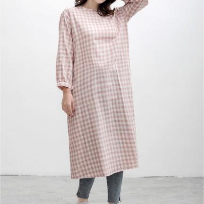 2021新款-双层纱格纹连衣裙 XS码 粉格
