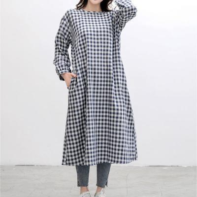 2021新款-双层纱格纹连衣裙 S码 蓝格