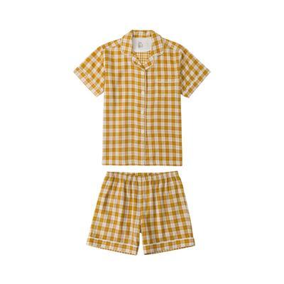 2021新款-炫彩格-短袖短裤 M码 黄色条格