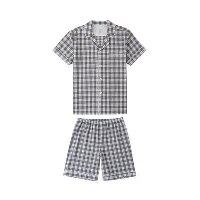 2021新款-炫彩格-短袖短裤 M码 灰色条格