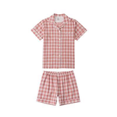 2021新款-炫彩格-短袖短裤 M码 粉红色条格
