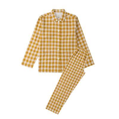 2021新款-炫彩格-长袖长裤 L码 黄色条纹