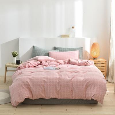 2021新款-段染彩纱水洗棉四件套 1.5m四件套 粉色条纹