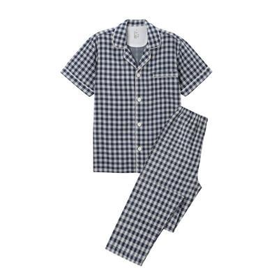 2021新款无印短袖长裤 L码 藏青格纹短袖(男)