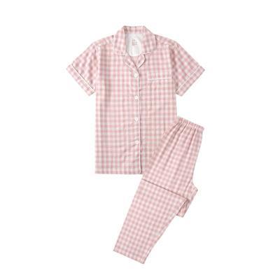 2021新款无印短袖长裤 L码 粉色格纹短袖(女)