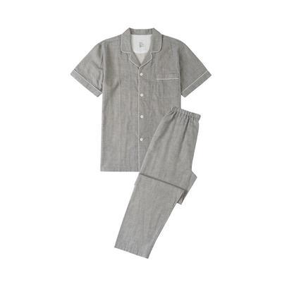 2021新款无印短袖长裤 L码 麻灰纯色短袖(男)