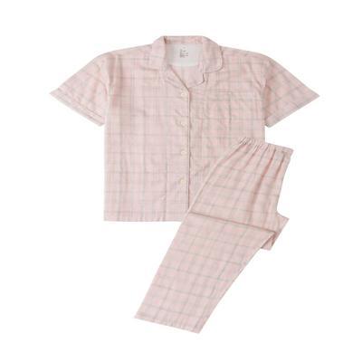 2021新款无印短袖长裤 L码 麻灰条粉格短袖(女)