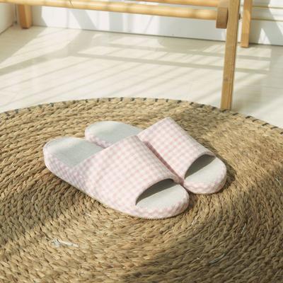 2021新款麻棉开口拖鞋 均码 女款-粉色