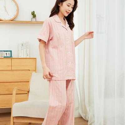 2021新款日式粉色宽条纹款短袖长裤家居服 M码 粉色宽条纹