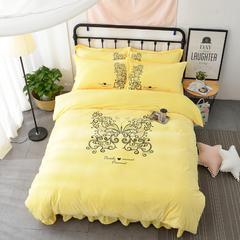 (总)会生活家纺 韩版水晶绒宝宝绒亲肤绒法莱绒加厚保暖四件套 1.5m(5英尺)床 蝴蝶·黄