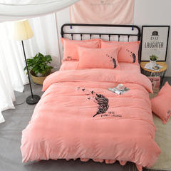 (总)会生活家纺 韩版水晶绒宝宝绒亲肤绒法莱绒加厚保暖四件套 1.5m(5英尺)床 梦想·玉