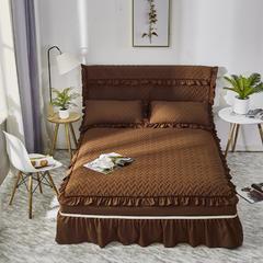 荷叶边床罩床盖床裙三件套四件套 会生活家纺(单品床裙有床头罩) 150cmx200cm 咖啡色