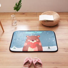 2018新款-会生活 北欧风进门小垫子卧室床边毯长条垫 50*150cm 爱心熊