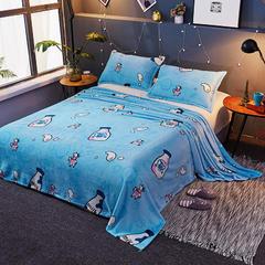 2018新款法莱绒毛毯  毛毯毯子 150X230cm 活力奶瓶-蓝