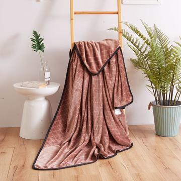 2018日式绒毯毛毯 功能毯 空调毯 120*200 菱形咖啡色
