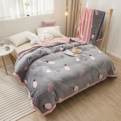 2020新款珊瑚绒法兰绒毯牛奶绒午睡盖毯床单空调毯毛毯AB版花型 120*200cm 爱心菠萝