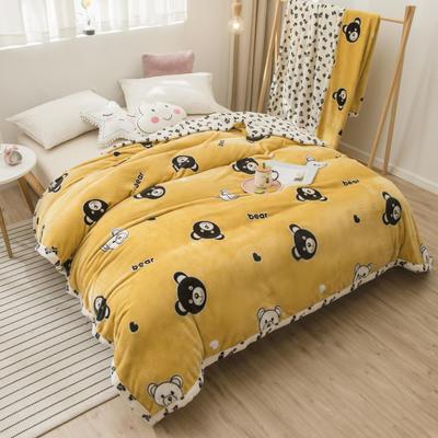 2020新款珊瑚绒法兰绒毯牛奶绒午睡盖毯床单空调毯毛毯AB版花型 100*120cm 豹点熊