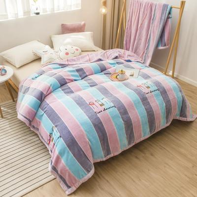 2020新款珊瑚绒法兰绒毯牛奶绒午睡盖毯床单空调毯毛毯AB版花型 120*200cm 彩虹之路